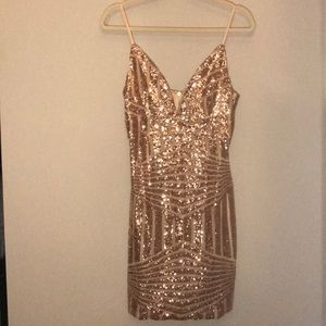 NYE DRESS Rose Gold//Brand: Tiger Mist//Size: Med